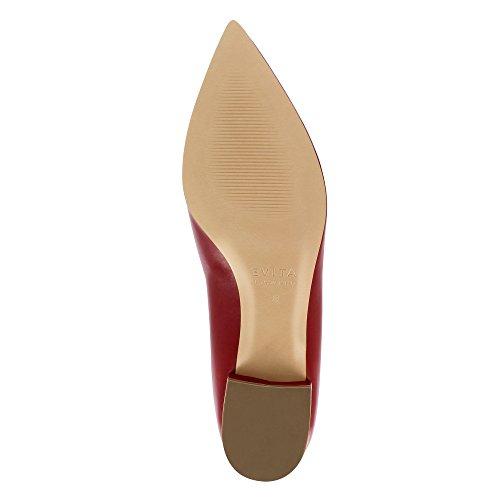 Scuro Rosso Evita Tacco Scarpe Franca Donna Col Shoes wASqH