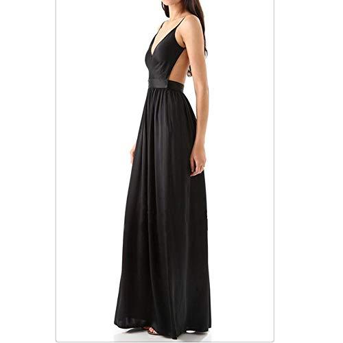 Nhatycir Deep V-Neck Sexy Sling Jupe Longue de Haute qualit Elegant Temperament Pure Dress (Color : Blue, Size : M) Black