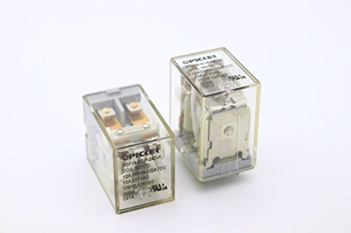 (x2) PC113-2C-P-24D-X-2 | DPDT 24 VDC Coil 12 Amp 250 VAC UL Rated, Miniature General Purpose Ice Cube Relay w/PC Pins & Clear Plastic Case | Cross: Song Chuan SCL-1-DPDT-24VDC; ()