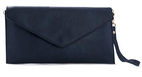 Plain Leather Shoulder Envelope Womens Handbag Crossbody Big Vegan Bag Navy Wristlet Shop Messenger Clutch waFZfqnt