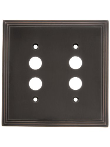 House of Antique Hardware R-010II-MCSP-2S-OB Mid-Century Push Button Switch Plate - Double Gang in Oil-Rubbed Bronze by House of Antique Hardware, Inc.