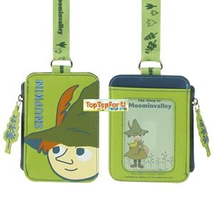 The Story of Moominvalley Snufkin Leather Credit ID Card Case Pass Badge Holder Coin Pouch with Neck Strap (Adjustable)