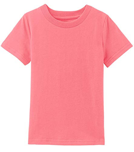 A&J DESIGN Kids Plain Crewneck T-Shirts (Coral Pink, ()