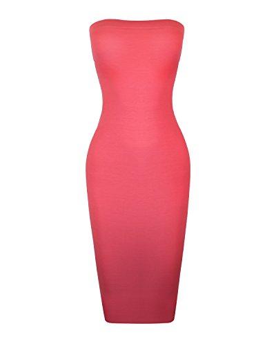 Instar Mode Women's Seamless Strapless Midi Bodycon Slip Tube Dress (D39715 Coral, Small) ()