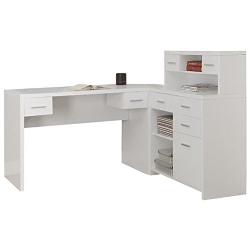 Pemberly Row L Shaped Home Office Desk with Hutch in White