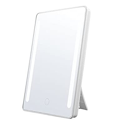 Jerrybox LED Lighted Makeup Mirror, Batteries or USB Charging, Natural LED, 180??Rotation, Adjustable, Dimmable, Foldable, Back Stand