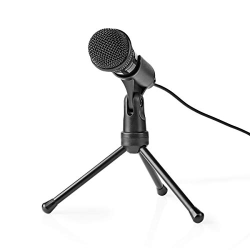 Amigo Nedis Condenser Wired Microphone with Portable Tripod Stand | Omnidirectional Pattern | 3.5 MM Plug & Play | for Podcasting, Gaming, YouTube Streaming, Recording etc. (Black)