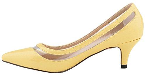 Calaier Damen Cahot 4CM Stiletto Schlüpfen Pumps Schuhe Gelb
