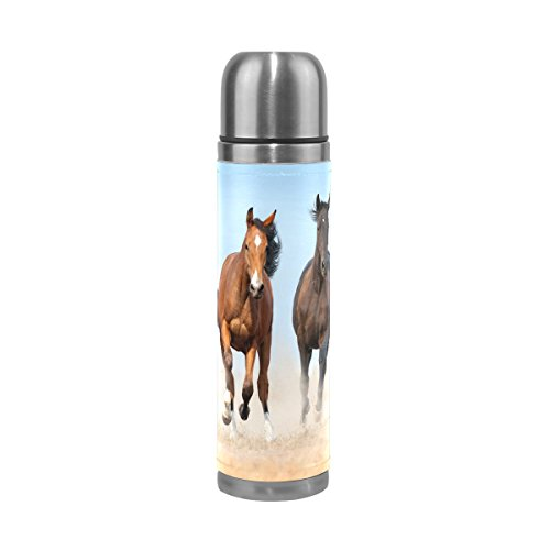 - ALAZA Horse Herd Stainless Steel Water Bottle 17 Oz Double Wall Vacuum Insulated Thermos Flask Genuine Leather Wrapped Cover