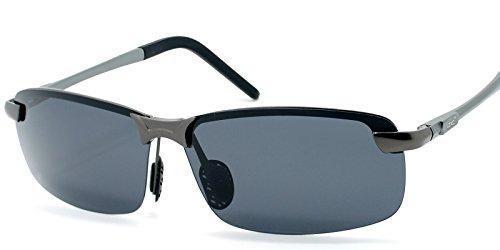 LZXC Herren Polarisiert Sonnenbrille Fahrerbrille Federscharnier AL-MG Metallrahmen Outdoor Sportbrille Schwarz Linse
