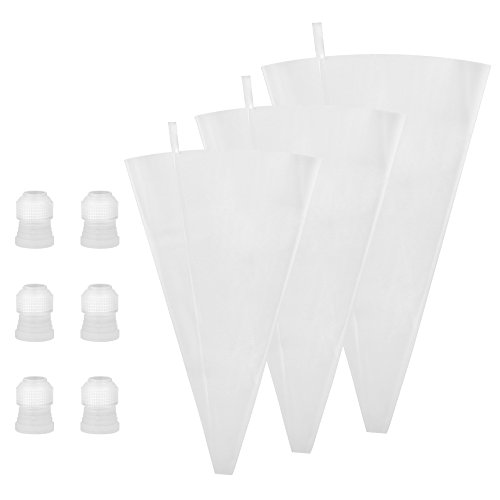 Kootek CD018 18 Pieces Silicone Pastry Set Pack 3 Sizes Reusable Icing Piping Bag (12 14 16) with 6 Couplers, Cake Decorating Supplies Baking Tool for Dessert (Tips Not Included), Clear