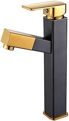 キッチン水栓 シングルハンドルシングルホール真鍮浴室容器シンク蛇口冷たいと温水ミキサーバニティシンクタップ付きポップアップドレイン排水口 キッチンとバスルームに適しています (Color : Black, Size : Free size)