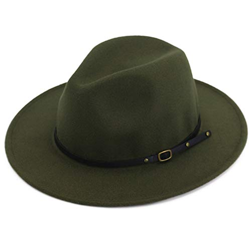 Lisianthus Women Wide Brim Wool Fedora Panama Hat with Belt Buckle -