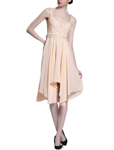 Kingmalls Womens Sleeveless Scoop Tea Length Bridesmaid Dress (Small)