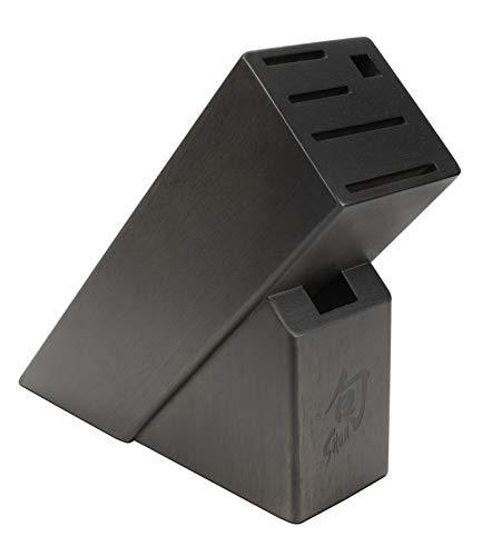 Shun 6 Slot Slimline Bamboo Knife Block, Stain, DM0846, 1, Dark Brown