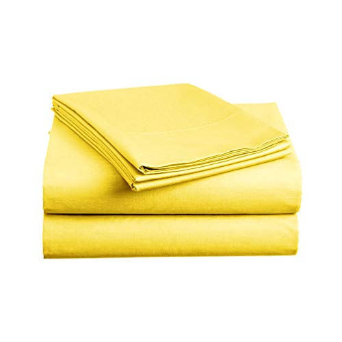 Luxe Bedding Sets - Queen Sheets 4 Piece, Flat Bed Sheets, Deep Pocket Fitted Sheet, Pillow Cases, Queen Sheet Set - Bright - Queen Yellow Flat Sheet