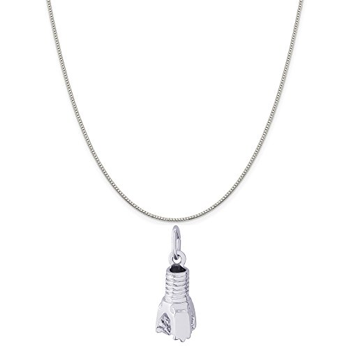 Rembrandt Charms Sterling Silver Oil Drill Bit Charm on a Sterling Silver Box Chain Necklace, 18