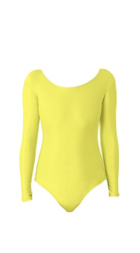 WOLF UNITARD Long Sleeve Leotard for Adult and Child Small Yellow