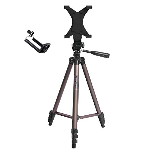 50 inches Camera Tripod with Universal Tablet Holder Mount Compatible for iPad Air,iPad 4 3 2,ipad Mini,Samsung Galaxy Tab,Tab 2,Tab 3,Tab 4,Tab 5,Tab Pro,Google Nexus,Kindle,iPhone,Microsoft Surface