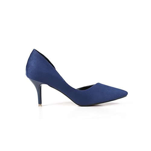 AalarDom Womens Pull-On Pointed-Toe High-Heels Solid Pumps-Shoes Royalblue fhJqB