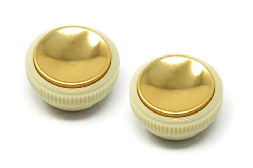 Teacup Knob - Vintage Tea Cup Hofner Knobs for Beatle Violin Bass Guitar (Set of 2) Off White w/Gold Top by VINTAGE FORGE | VTC-GLD