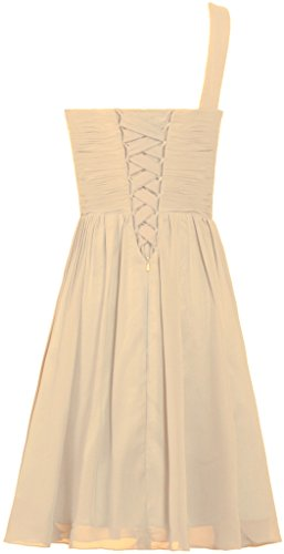 s Champagne Shoulder Chiffon Dress Short Prom One Women ANTS Evening Dress RTAPp