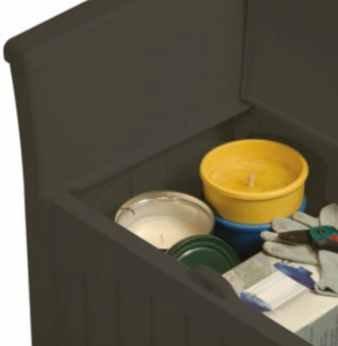 Small Storage Box, Patio Seat - 31 Gal, Resin, Dark Brown