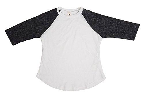Tough Cookie's Kids' 2-7 Yrs 3 Quarter Plain Triblend Raglan T-shirts (XS age 2-3, White / Charcoal)