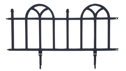 Iron Garden Border - Easy Gardener Landscape Edging Pound In Decorative Edging (Looks Like Wrought Iron) Black, 24 Pack / 48-Feet
