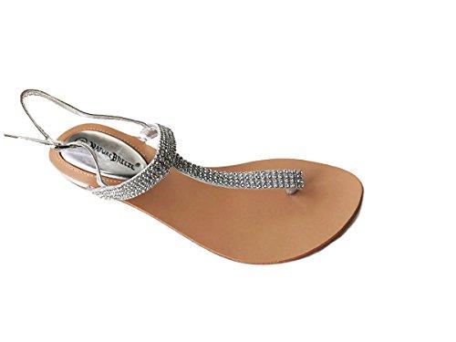 Nature Breeze Kylie 08 Gladiator Rhinestone Thong Flat Sandals Silver 8.5
