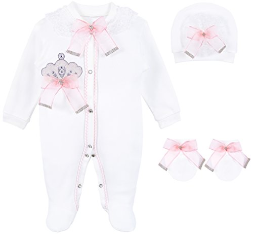 - Lilax Baby Girl Jewels Crown Layette 3 Piece Gift Set 3-6 Months Pink