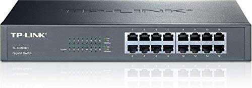 TP-Link 10/100/1000Mbps 16-Port Gigabit 13-inch Rackmountable Switch, 32Gbps Capacity (TL-SG1016D)