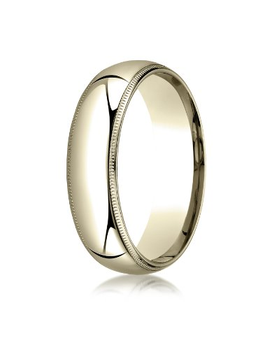 (Men's 14K Yellow Gold 6mm Slim Profile Comfort Fit with Milgrain Wedding Band Ring, Size)