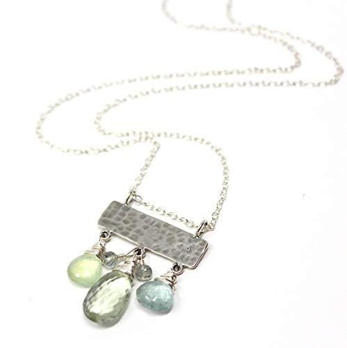 Prasiolite Necklace Green Amethyst Multi Gemstones Sterling Silver Slider Pendant