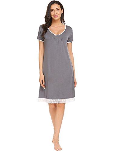 Sweetnight Women's Nightgown Scoop Neck Tee Soft Lace Sleepwear Maternity (Lace Trim Scoop Neck Tee)
