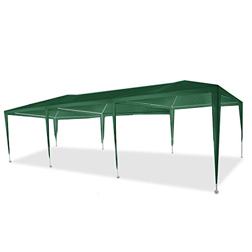 Flexzion Outdoor Party Wedding Tent 10'x30′ (Green) Canopy Pavilion Catering Events Easy Set without Sidewalls for Camping BBQ Commercial Flea Market For Sale