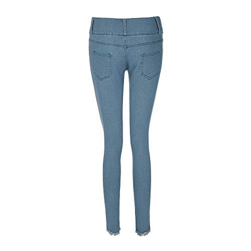 Lqqstore Blu Casuale Buco Stretch Vita A Ginocchio Cielo jeans Pantaloni Jeans donna Moda Nappa Vitello Inferiore Pulsante Donna Magro Basso rAFq1r