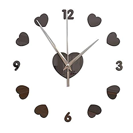 Amazon.com: New 3D Wall Clock DIY Clocks Reloj De Pared Quartz Watch Living Room Simple Love Circular Acrylic Mirror Stickers Horloge Black: Home & Kitchen