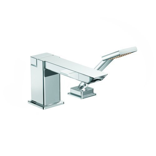 Iodigital Shower Faucet (Moen TS9041 90 Degree High Arc Roman Tub Faucet Includes Hand Shower IO-Digital Technology, Chrome by Moen)
