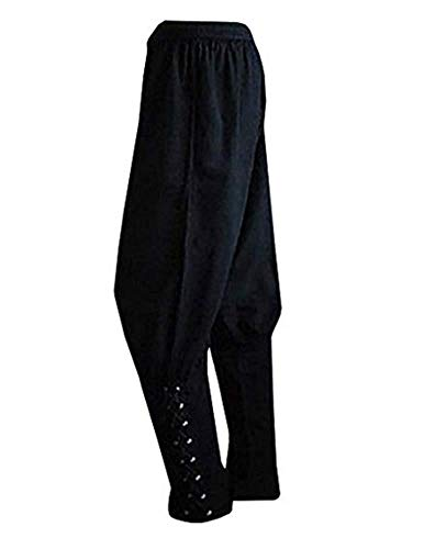 Bbalizko Men's Ankle Cuff Renaissance Pants Medieval Viking Navigator Trousers with Drawstrings Black -