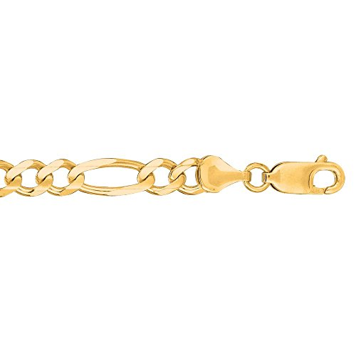 "Or jaune 14 carats - 7 ""X 6 mm-Maille Figaro Bracelet-JewelryWeb"
