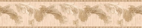 - Brewster 418B247 Borders and More Deep Leaf Scroll Trail Wall Border, 4.5-Inch by 180-Inch, Beige