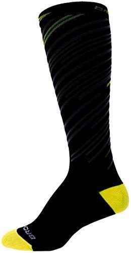 Brooks Fanatic Compression Socks (Medium Men's 6 - 8.5 / Women's 7 - 9.5, Black/Neon Yellow) - Brooks Mens Socks