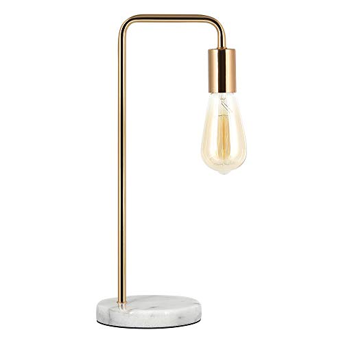 HAITRAL Industrial Table Lamp - Modern Bedside Desk, Stylish Nightstand Lamp for Bedroom, Office, College Dorm with White Marble Base and Metal Frame - Gold (Without Bulbs) (Lamp Bases Marble)
