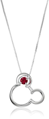 Disney Sterling Silver Open Mickey Mouse Image with Synthetic Ruby -July Birthstone Pendant Necklace, 18