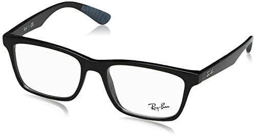 Ray-Ban RX7025 Square Eyeglass Frames, Shiny Black/Demo Lens, 55 ()