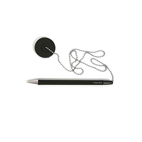 Secure Counter Pen With Adhesive Base & Metal Chain - Black Ink - Medium Point (10 Pack) by Precision Works (Image #2)