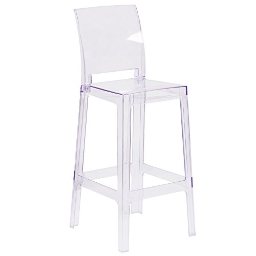 Flash Furniture Ghost Barstool with Square Back in Transparent Crystal ()