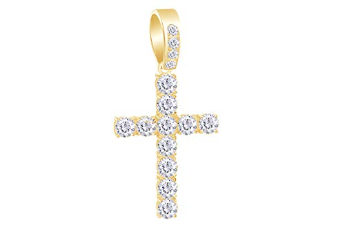 - 1 Carat (Ctw) Round White Natural Diamond Iced Out Cross Hip Hop Pendant in 14k Yellow Gold Over Sterling Silver