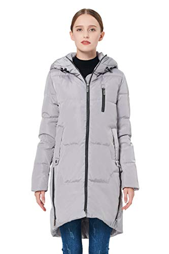 Orolay Women's Stylish Thickened Down Jacket Hooded Coat Grey - Jacket Down Uptown